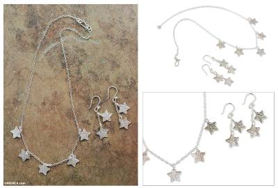 Sterling silver jewelry set, 'Tears of San Lorenzo' - Handmade Silver Star Necklace and Earrings Set from Peru