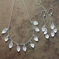 Sterling silver jewelry set, 'Forest Rain' - Leaf Motif Sterling Silver Necklace and Earrings