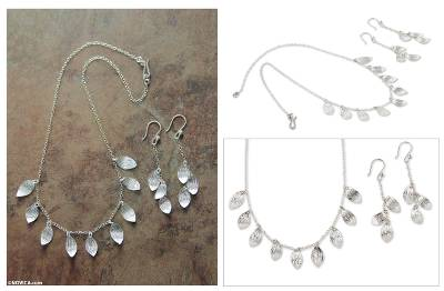 Sterling silver jewelry set, 'Forest Rain' - Artisan Crafted Silver Necklace and Earrings jewellery Set