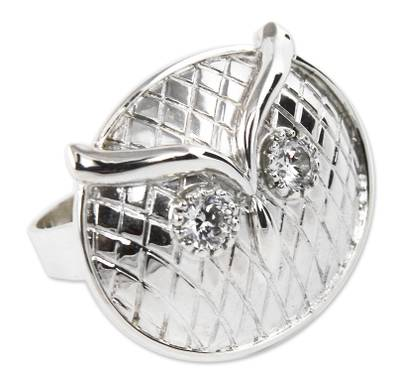Sterling silver cocktail ring, 'Midnight Owl' - Sterling Silver Owl Ring from Peru Jewelry