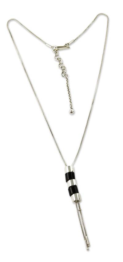Handmade Obsidian Lariat Necklace