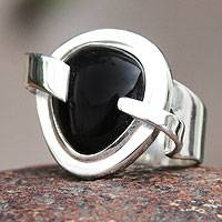 Obsidian cocktail ring, 'Black Universe'
