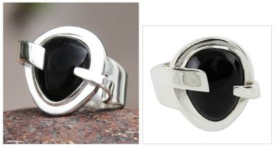 Obsidian cocktail ring, 'Black Universe' - Handmade Obsidian Cocktail Ring