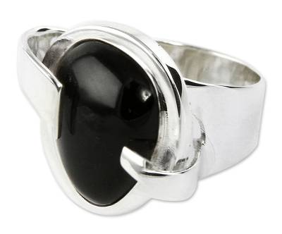 Handmade Obsidian Cocktail Ring