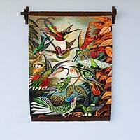 Wool tapestry, 'Hummingbird Haven' - Handwoven Wool Andean Bird Tapestry