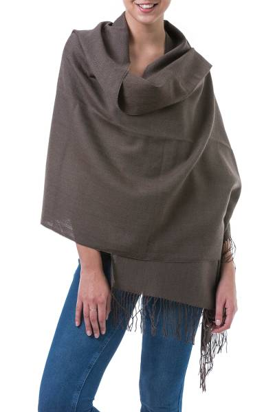 Alpaca blend shawl, 'Herringbone Brown' - Handwoven Alpaca Blend Shawl