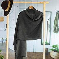 Alpaca blend shawl, 'Night in Lima' - Handwoven Dark Gray Alpaca Blend Shawl