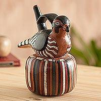 Ceramic vessel, 'Bird of Rio Grande' - Ceramic Nazca Replica Vessel Sculpture