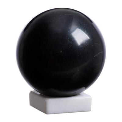 Onyx sphere, 'Night World' - Black Onyx Sphere Sculpture on White Calcite Base