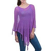 Featured review for Alpaca blend poncho, Lavender Whimsy