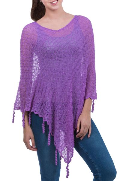 Alpaca blend poncho, 'Lavender Whimsy' - Alpaca Blend Knit V-neck Poncho from Peru