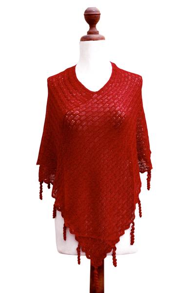 Alpaca blend poncho, 'Scarlet Whimsy' - Alpaca Blend Knit V-neck Poncho from Peru
