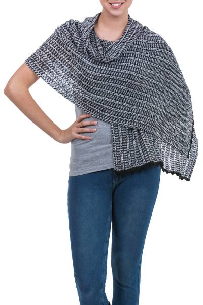 Alpaca blend shawl, 'White Lima' - White Black Alpaca Blend Shawl Wrap from Peru