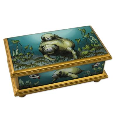 Reverse painted glass box, 'Manatee Family' - Reverse Painted Glass Gilded Jewelry Box