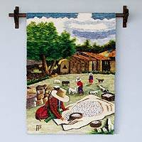 Wool tapestry, 'Drying Yarn' - Peruvian Handwoven Wool Tapestry
