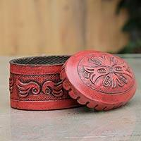 Leather box, 'Andean Treasures' - Petite Tooled Leather Jewelry Box and Lid