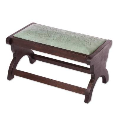 Mohena and leather bench, 'Beauty' - Artisan Crafted Mohena Wood and Leather Bench