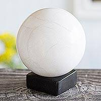 Onyx sphere, 'World of White' - White Onyx Sphere Sculpture on Black Onyx Base