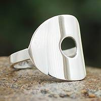 Sterling silver band ring, 'Energy Cycle' - Fair Trade Peruvian Jewelry Sterling Silver Ring