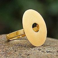 Gold plated cocktail ring, 'Golden Aura' - Gold Plated Cocktail Ring Peru Artisan Jewelry