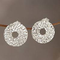Sterling silver button earrings, 'Round Diamond Fantasy' - Fair Trade Jewelry Sterling Silver Earrings