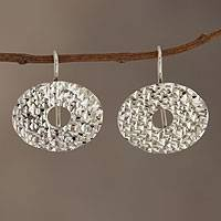 Sterling silver drop earrings, 'Oval Diamond Fantasy' - Fair Trade Jewelry Sterling Silver Earrings