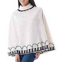 Alpaca blend poncho, 'Ivory Wari Splendor' - Ivory Alpaca Blend Turtleneck Poncho with Black Trim