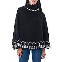 Alpaca blend poncho, 'Black Wari Splendor' - Black Alpaca Blend Turtleneck Poncho Gray and White Trim
