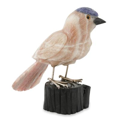 Caramel calcite sculpture, 'Sparrow of Creativity' - Bird Sculpture in Caramel Calcite on Onyx Stand