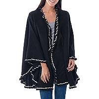 Alpaca blend cape, 'Andean Snow Princess in Black' - Black Alpaca Blend Ruana Cape White Trim