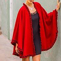 Alpaca blend cape, 'Andean Snow Princess in Red' - Woman's Aura Red Alpaca Wood Blend Cape from the Andes