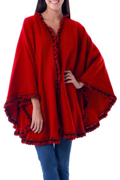 Alpaca blend cape, 'Andean Snow Princess in Red' - Red Alpaca Blend Ruana Cape Black Trim