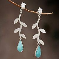 Amazonite dangle earrings, 'Blue Dew' - Amazonite on Sterling Silver Earrings Peruvian Jewelry