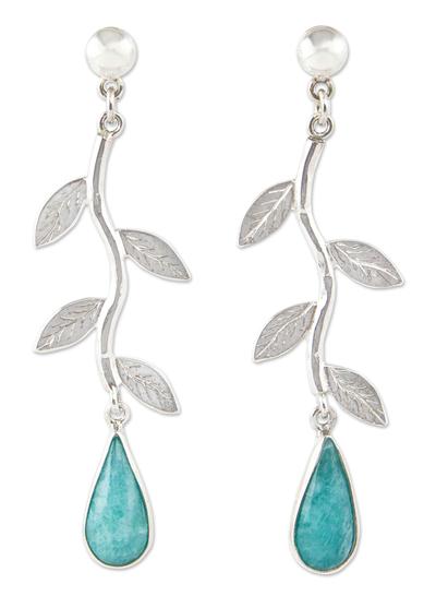 Amazonite dangle earrings, 'Blue Dew' - Amazonite on Sterling Silver Earrings Peruvian Jewelry