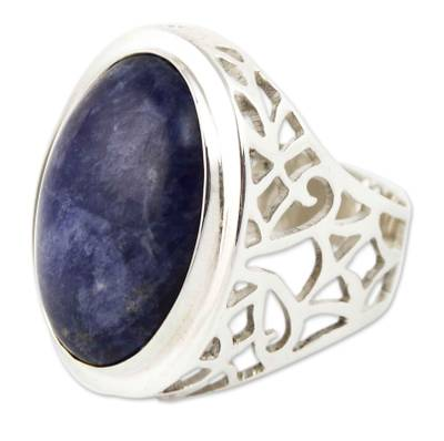 Sodalite cocktail ring, 'Lima Soul' - Sodalite Ring Sterling Silver Artisan Jewelry