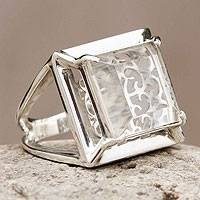 Quartz cocktail ring, 'Charm of Lima' - Handcrafted Peruvian Quartz and Silver Ring
