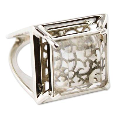 Quartz cocktail ring, 'Charm of Lima' - Artisan Crafted Clear Quartz Ring Peru Jewelry