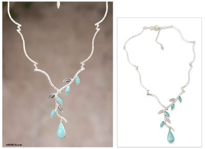 Amazonite Y-necklace, 'Blue Dew' - Amazonite on Sterling Silver Necklace Peruvian Jewelry