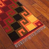 Wool rug, 'Fiery Hills' (2x8) - Hand Loomed Wool Area Rug (2x8)