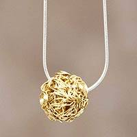 Gold plated pendant necklace, 'Nascent Star' - Hand Crafted Sterling Necklace 18k Gold Plated Pendant