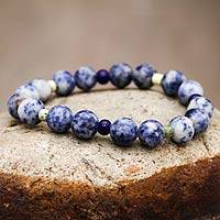 Sodalite and serpentine stretch bracelet, 'River Song'