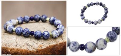 Sodalite and serpentine stretch bracelet, 'River Song' - Handmade Beaded Sodalite Bracelet