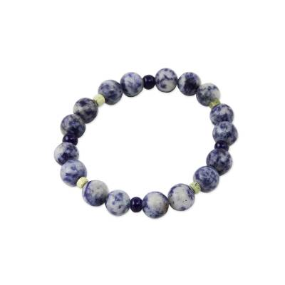Sodalite and serpentine stretch bracelet, 'River Song' - Handmade Beaded Sodalite Bracelet