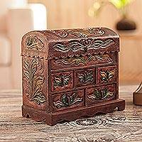 Wood and leather jewelry box, 'Golden Bird' - Colonial Hand Tooled Leather 5 Drawer Jewelry Box