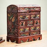 Wood and leather jewelry box, 'Bird of Paradise' - Colonial Hand Tooled Leather Jewelry Chest