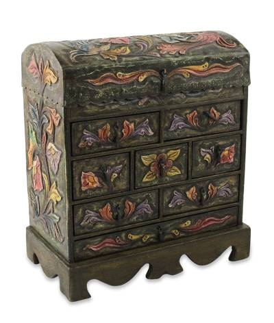 Wood and leather jewelry box, 'Exotic Birds' - Bird Motif Green Leather Jewelry Box Chest 8 Drawers