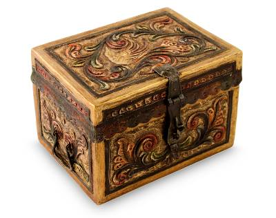 Mohena and leather jewelry box, 'Golden Bird' - Artisan Crafted Tooled Leather Peruvian Jewelry Box