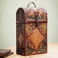 Mohena and leather wine case, 'Colonial Vineyard' - Handcrafted Tooled Leather Wine Case