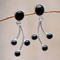 Obsidian dangle earrings, 'Dance' - Obsidian Earrings Artisan Crafted Sterling Silver Jewelry