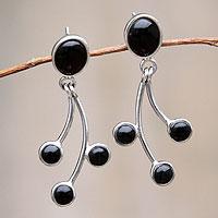 Obsidian dangle earrings,